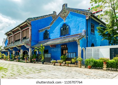 George Town, Penang, Malaysia - January 6, 2018: Cheong Fatt Tze, The Blue mansion it is heritage building located in George Town, Malaysia. It was built at the end of 19th century by Chinese merchant