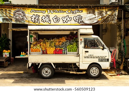 GEORGE TOWN, PENANG, MALAYSIA, JULY 18TH 2015:  Food or Fruit truck in Georgetown, Malaysia