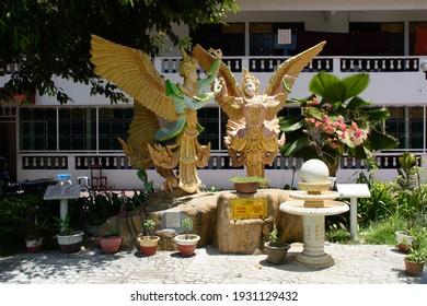 George Town, Penang, Malaysia - March 10th 2018: The mythological characters Kinnara and Kinnari at the Dhammikarama Burmese Buddhist Temple.