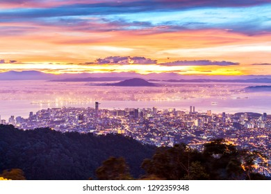 George Town Penang, view from Penang Hill during sunrise