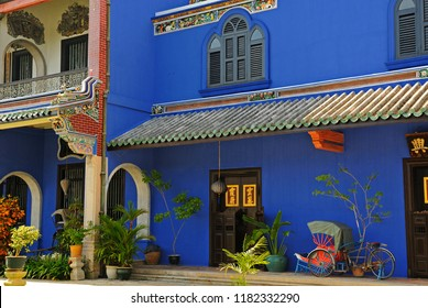 george town, penang/malaysia - december 29, 2007: cheong fatt tze mansion  the blue mansion on  lebuh leith
