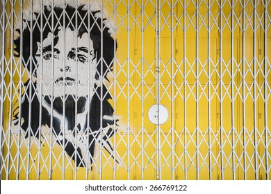GEORGE TOWN,PENANG ,MALAYSIA- CIRCA March 26, 2015: Public street art Name Michael Jackson painted on the Door with black and white color in Georgetown, Penang, Malaysia.