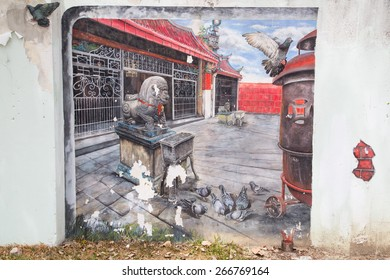 GEORGE TOWN,PENANG ,MALAYSIA- CIRCA March 26, 2015: Public street art Name Local painting on the wall by Local Artist in Georgetown, Penang, Malaysia.