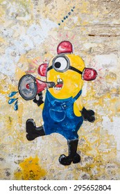 GEORGE TOWN,PENANG ,MALAYSIA- CIRCA March 26, 2015: Public street art Name Minion on the wall by Local Artist in Georgetown, Penang, Malaysia.
