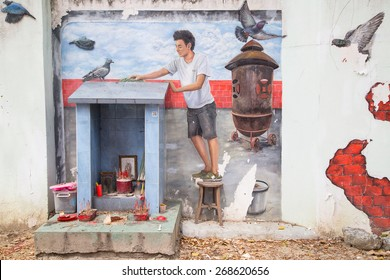 GEORGE TOWN,PENANG ,MALAYSIA- March 26, 2015: Public street art Name Local painting on the wall by Local Artist in Georgetown, Penang, Malaysia.