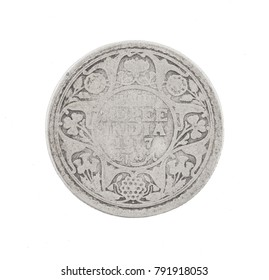 George V King Emperor, Half Rupee India 1917, Indian old Coin or Indian Currency Isolated on White Background
