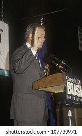 George W. Bush speaking from podium at campaign rally, Laconia, NH, January 2000