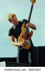 GEORGE WA - AUG 11: Singer and bass player Sting performs on stage at The Gorge Amphitheater August 11, 1991 in George, Wa.