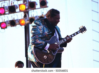 GEORGE, WA - AUG 9: Singer and blues guitar player BB King performs on stage at The Gorge Amphitheater  August 9, 1992 in George, Wa.