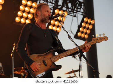 GEORGE, WA - JULY 12: Singer and bass player Sting of The Police performs on stage at The Gorge Amphitheater JULY 12, 2008 in George, Wa.