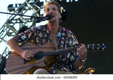 GEORGE WA - JULY 25: Singer and guitar player Kenny Loggins of Loggins and Messina performs on stage at The Gorge Amphitheater August 15, 2005 in George, WA.