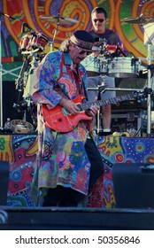 GEORGE, WA - SEPT 2: Singer and guitar player Carlos Santana performs on stage at The Gorge Amphitheater  September 2, 1995 in George, Wa.