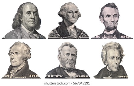 George Washington, Benjamin Franklin, Abraham Lincoln, Alexander Hamilton, Andrew Jackson, Ulysses Grant faces from US dollar bills isolated, United States presidents, money closeup