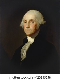 George Washington, by Gilbert Stuart, c. 1803-05, American painting, oil on canvas. In 1796 Washington sat for Stuart who created the famous, but never finished 'Athenaeum' portrait. From that work,