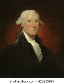 George Washington, by Gilbert Stuart (Vaughan portrait), 1795, American painting, oil on canvas. This is one of the 130 known portraits of Washington by portraitist Gilbert Stuart