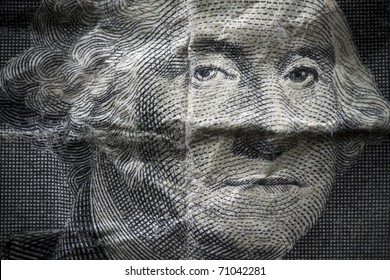 George Washington closeup on a distressed one dollar note