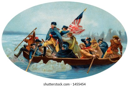 George Washington Crossing the Delaware - An oval, 1908 chromolitho reproduction of Emanuel Leutze's painting (1851) of Washington's December 26, 1776 surprise crossing in the Battle of Trenton