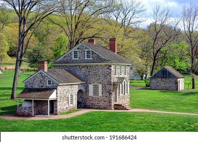 George Washington Headquarters of the American Revolutionary War Continental Army encampment in Isaac Potts field stone house at Valley Forge National Historical Park near Philadelphia in Pennsylvania