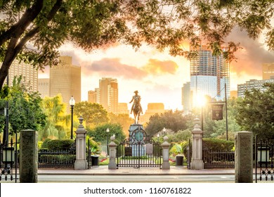 George Washington monument in Public Garden Boston Massachusetts USA