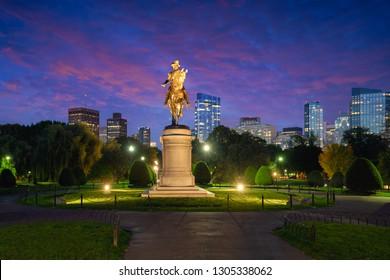 George Washington monument at Public garden in Boston Massachusetts USA