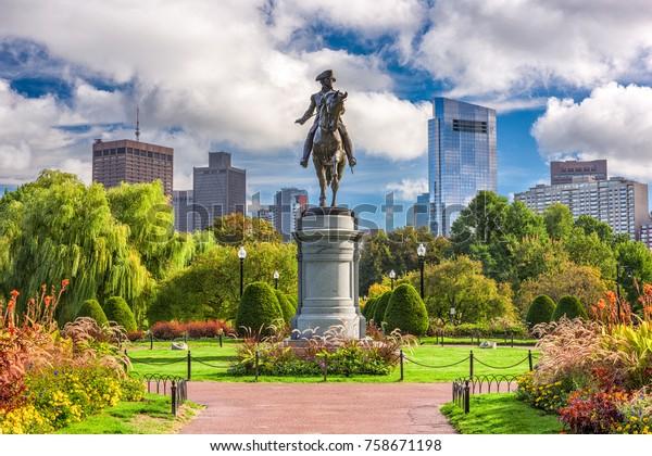Le monument George Washington au jardin public de Boston, Massachusetts.