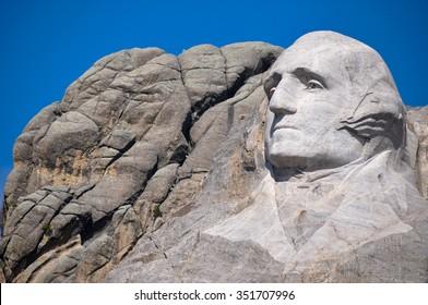 George Washington on Mount Rushmore National Monument, South Dakota, USA.