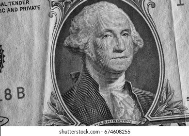 George Washington on One Dollar Bill. Black and White.