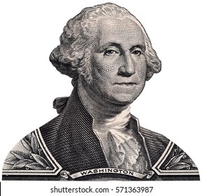 George Washington portrait on one USA dollar bill macro isolated, 1 usd, United States of America money closeup