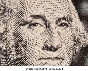 George Washington portrait on the us one dollar bill extreme macro, united states money