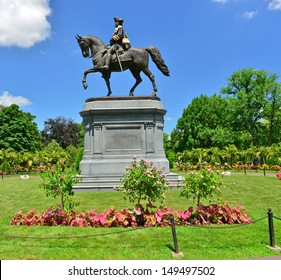 George Washington Statue in Boston Public Garden, Boston, MA, USA.