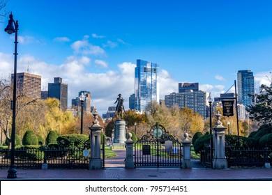 George Washington Statue in Boston Public Garden with the Boston skyline in background