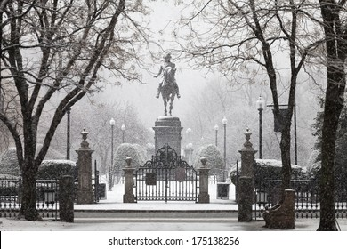 George Washington statue in snowfall, Boston