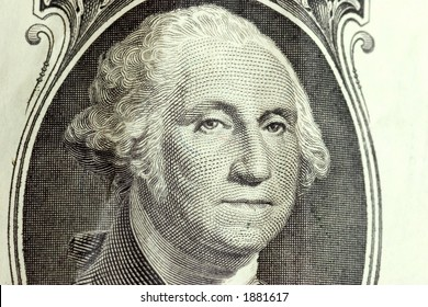 George Washington's face on the front of a one dollar bill.