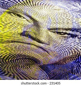George Washingtons Face from One Dollar Bill - Abstract Art - Money