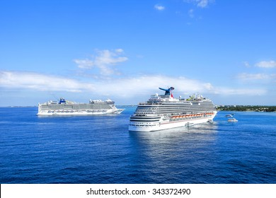 GEORGETOWN, GRAND CAYMAN - FEBRUARY  12, 2015:  Cruise ships sailing on the Caribbean sea on a sunny day.