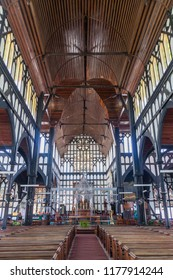 GEORGETOWN, GUYANA - AUGUST 10, 2015: Interior of St George's cathedral in Georgetown, capital of Guyana