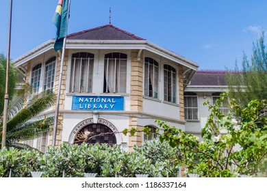 GEORGETOWN, GUYANA - AUGUST 10, 2015: Building of the National Library in Georgetown, capital of Guyana.