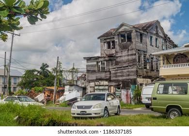 GEORGETOWN, GUYANA - AUGUST 10, 2015: Old wooden house in Georgetown, capital of Guyana