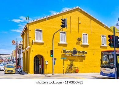 GEORGETOWN, MALAYSIA - FEBRUARY 14, 2018: View of Penang island streets with yellow house