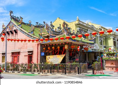GEORGETOWN, MALAYSIA - FEBRUARY 14, 2018: New Year in Penang island streets