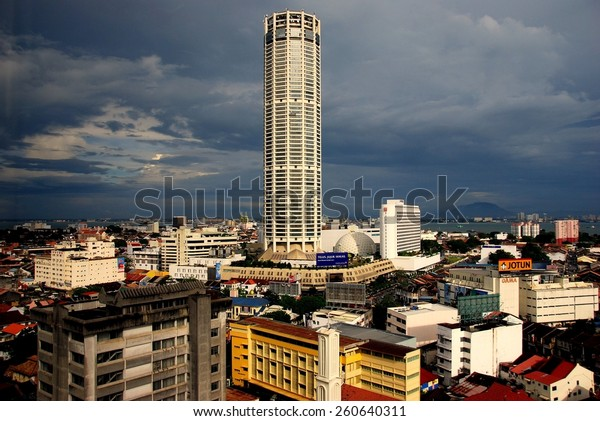 Georgetown, Malaysia - January 8, 2008:  The 66-story Komtar Tower dominates the skyline of the city  *