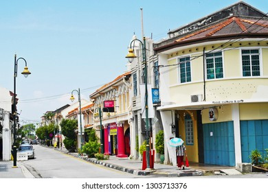 GEORGETOWN, MALAYSIA - JULY 5, 2017: Cityscape of the heritage buildings or shop house in conservative commercial zone in inner Georgetown.