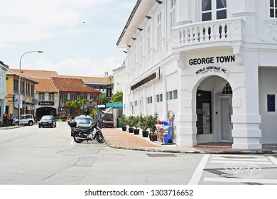 GEORGETOWN, MALAYSIA - JULY 5, 2017: Cityscape of the heritage buildings or shop house in conservative commercial zone. Georgetown World Heritage Incorporated (GWHI) office.