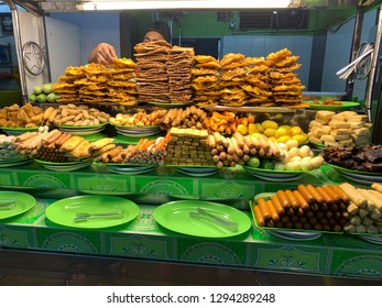 GEORGETOWN, PENANG. 22nd DISEMBER 2019: Food on offer at night market in Georgetown Penang Malaysia