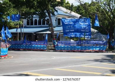 GeorgeTown, Penang - April 29, 2018 : Flags view of Barisan Nasional and Pakatan Harapan indicating Malaysia 14th General Election
