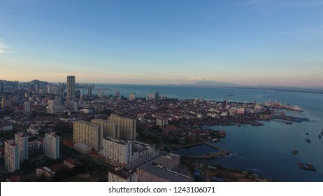 Georgetown, Penang. Aug 15 2018. Georgetown City from aerial view. Georgetown is capital city for Penang State and second biggest city for Malaysia. Photo contain excessive and over exposure.