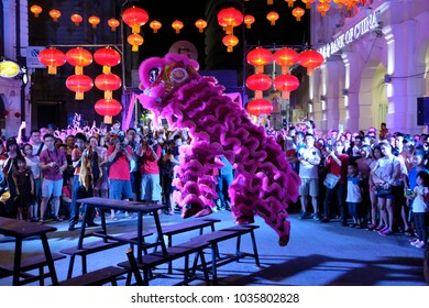 GEORGETOWN PENANG, MALAYSIA - 18 FEBRUARY 2018 : People enjoy watching a lion dancing performance for Chinese New year at beach street penang.