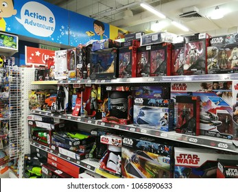 Georgetown penang Malaysia. April 10 2018. Overstock of Star Wars toys on the shelves of Toys R US.