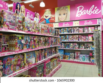Georgetown penang Malaysia. April 10 2018. Shelves overstock and full of Mattel's Barbie doll toys in Toys R Us.