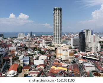 Georgetown, Penang, Malaysia - April 6th, 2019: A stunning view of Penang Georgetown. Komtar is a iconic building of Penang. Penang Georgetown also list as Unesco World Heritage site.